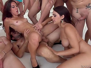 Scorching sexpot Valentina Nappi from Italy and girlfriend served a few dozens of dongs and didn't get tired
