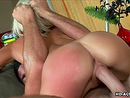 Energetic fucker goes wet from head to toe during fucking act with blonde-haired lassie 9