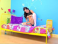 Brunette Danica James wasn't able to bring herself heavenly delight with vibrator that's why took advantage of playful fingers 5