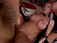Holes of chesty females Cathy Heaven and Lara De Santis grimly double penetrated in the group sex scene 10