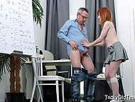 Red-haired student used shaved pussy and tender lips to reach agreement with old teacher 3