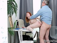 Red-haired student used shaved pussy and tender lips to reach agreement with old teacher 9