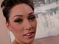 Short-haired brunette Lily Labeau with slender body lovely smiles pleasing delicious rod 3