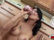 When fruit cocktail fully flowed out brunette's asshole, she happily enjoyed that drink 11