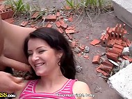 Guys didn't want to find comfortable place that's why pretty brunette got screwed on abandoned construction site 5