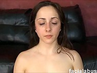 Guys hammered smooth vagina with two dicks and released a lot of sperm on the pretty face 9