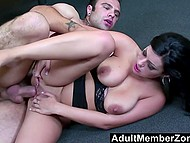 Dark-haired secretary with big natural breasts fucked by handsome boss in the office 11