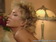Vintage video of outgoing sex of young blonde and two brutal machos that are hardly banging her