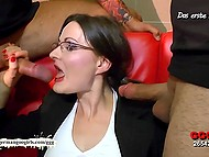 German whore dressed like a lustful secretary was surrounded with cocks and had to treat them all 4