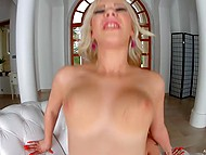 Slutty blonde made body excited with fingers before man fucked and creampied her 9