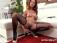 Lassie has pumped pussy and after this she uses her huge vibrator to satisfy it finally 5