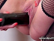 Lassie has pumped pussy and after this she uses her huge vibrator to satisfy it finally 7
