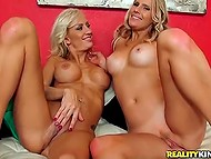 Blonde-haired cougars finished yoga exercises and licked each other's sissy 11