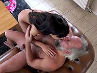 Old man was jerking off and indignant brunette gave shaved pussy up to him