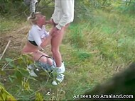 Lascivious couple found secluded meadow and boy hooked up blonde girlfriend from behind 10