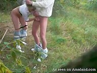 Lascivious couple found secluded meadow and boy hooked up blonde girlfriend from behind 11