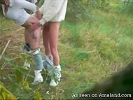 Lascivious couple found secluded meadow and boy hooked up blonde girlfriend from behind