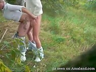 Lascivious couple found secluded meadow and boy hooked up blonde girlfriend from behind 5