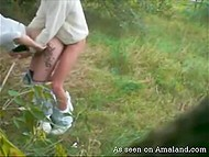 Lascivious couple found secluded meadow and boy hooked up blonde girlfriend from behind 6