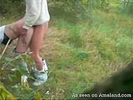 Lascivious couple found secluded meadow and boy hooked up blonde girlfriend from behind 7