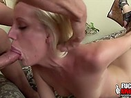 Smiling white-headed chick brought guy with mouth to abnormal ejaculation on her pretty face 5