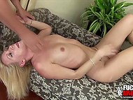Smiling white-headed chick brought guy with mouth to abnormal ejaculation on her pretty face 6