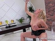 Concupiscent blonde played a little bit with her urine and relaxed masturbating cunny with rambone 4