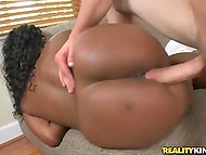 Hairless stallion picked up bootylicious black hottie and owned her pussy on the sofa 10