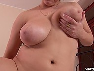 Big-boobied madame laid down on the fluffy coverlet and rubbed crack with vibrator 9