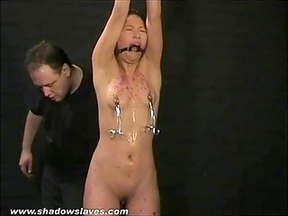 Master had put clothespins on Asian's small tits and poured hot wax on her body but she could handle it