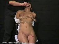 Master had put clothespins on Asian's small tits and poured hot wax on her body but she could handle it 5