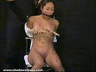 Master had put clothespins on Asian's small tits and poured hot wax on her body but she could handle it 6