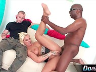 Blonde-haired wife got shaved ginch fucked and flooded by black homie in front of humiliated hubby