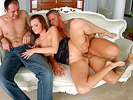 Lady invited guys and did what she wanted for a long time - had threesome sex 4