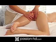 Ravishing damsel removed sheer negligee before masseur began to rub amazing body 5