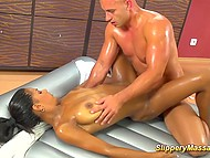 Friend had tellen bald man about slippery massage and when he came, dark master took care of him