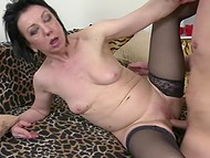 Mature baroness in stockings has replete sexual life thanks to young fucker 4