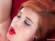 Brazen redhead unceremoniously took man's cock out and plainly sucked it 11