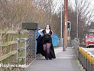 BBW from Great Britain was walking around the city and showing chubby body 5