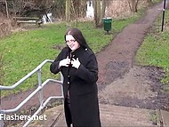BBW from Great Britain was walking around the city and showing chubby body 8