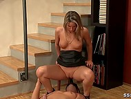 Blonde isn't interested in monotonous sex and she pushes her partner to lack moral