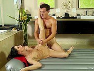Delicate dark-haired woman satisfied perfectly her client after sensual Nuru Massage 9