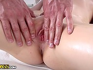Dazzling blonde got excited so much from skillful hands of masseur that spreaded legs in front of him 4