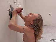 Raunchy blonde was excited by the appearence of chocolate dick from hole in wall and rode it without a second thought 11