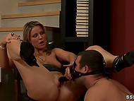 Overbearing lovely punishes swain putting on his head facial strapon and forcing him to masturbate her snatch 11