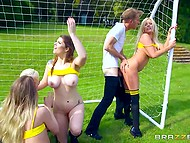 Playful lovelies seduce trainer and fuck him right on the football field after training 4