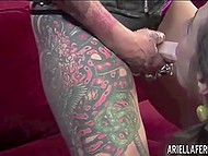 Tattooed fortune teller enchanted client with magic and fucked her cunny with strapon 6