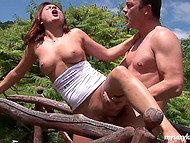 Well-shaped playful babe has fun with passionate sweetheart at a creek and blisses out 8