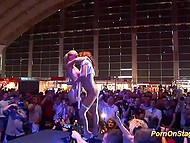 Amazing erotic show of two marvelous lesbians on the stage in front of hundreds spectators 11