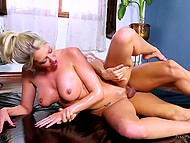 Breathtaking blonde-haired lovely relaxed completely after erotic massage and sex with muscled philanderer 4
